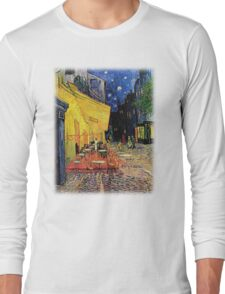 The Cafe Terrace on the Place du Forum, Arles, at Night,  Vincent van Gogh Long Sleeve T-Shirt