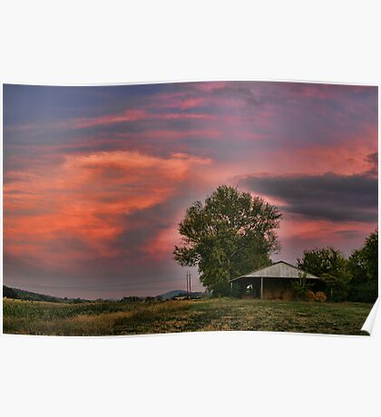 Fiery Sunset on the Farm Poster