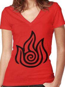 Firebending Black Women's Fitted V-Neck T-Shirt