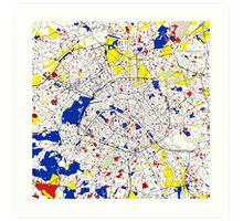 Paris Piet Mondrian Style City Street Map Art Art Print