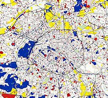 Paris Piet Mondrian Style City Street Map Art by Adam Asar