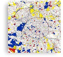 Paris Piet Mondrian Style City Street Map Art Canvas Print