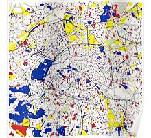 Paris Piet Mondrian Style City Street Map Art Poster