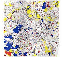 Paris Piet Mondrian Style City Street Map Art Poster