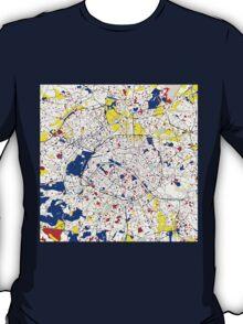 Paris Piet Mondrian Style City Street Map Art T-Shirt