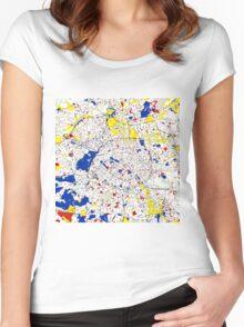 Paris Piet Mondrian Style City Street Map Art Women's Fitted Scoop T-Shirt