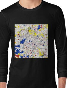 Paris Piet Mondrian Style City Street Map Art Long Sleeve T-Shirt