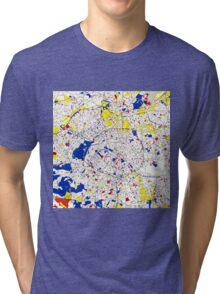 Paris Piet Mondrian Style City Street Map Art Tri-blend T-Shirt