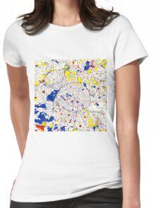 Paris Piet Mondrian Style City Street Map Art Womens Fitted T-Shirt