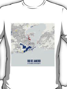 Rio de Janeiro Piet Mondrian Style City Street Map Art T-Shirt