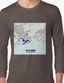 Rio de Janeiro Piet Mondrian Style City Street Map Art Long Sleeve T-Shirt