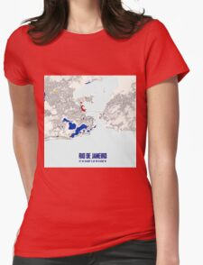 Rio de Janeiro Piet Mondrian Style City Street Map Art Womens Fitted T-Shirt