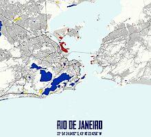 Rio de Janeiro Piet Mondrian Style City Street Map Art by Adam Asar