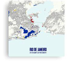 Rio de Janeiro Piet Mondrian Style City Street Map Art Canvas Print