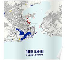 Rio de Janeiro Piet Mondrian Style City Street Map Art Poster