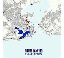Rio de Janeiro Piet Mondrian Style City Street Map Art Photographic Print
