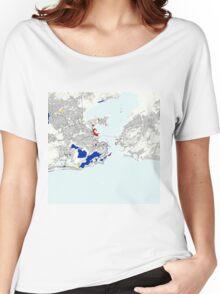 Rio de Janeiro Piet Mondrian Style City Street Map Art Women's Relaxed Fit T-Shirt