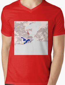 Rio de Janeiro Piet Mondrian Style City Street Map Art Mens V-Neck T-Shirt