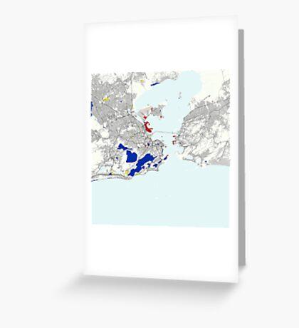 Rio de Janeiro Piet Mondrian Style City Street Map Art Greeting Card