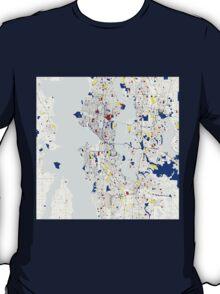 Seattle Piet Mondrian Style City Street Map Art T-Shirt