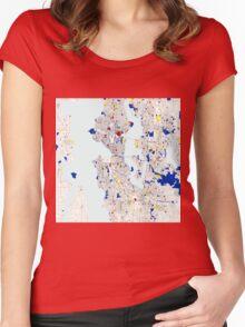 Seattle Piet Mondrian Style City Street Map Art Women's Fitted Scoop T-Shirt
