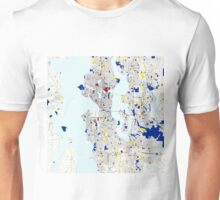 Seattle Piet Mondrian Style City Street Map Art Unisex T-Shirt
