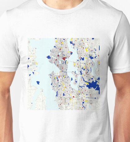 Seattle Piet Mondrian Style City Street Map Art Unisex T-Shirt