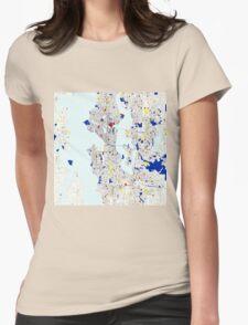 Seattle Piet Mondrian Style City Street Map Art Womens Fitted T-Shirt