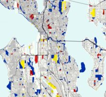 Seattle Piet Mondrian Style City Street Map Art Sticker