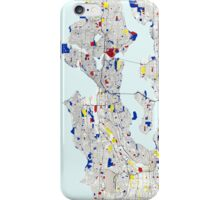 Seattle Piet Mondrian Style City Street Map Art iPhone Case/Skin