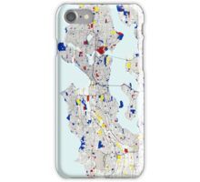 Seattle Piet Mondrian Style City Street Map Art iPhone Case/Skin