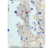 Seattle Piet Mondrian Style City Street Map Art iPad Case/Skin