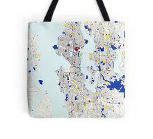 Seattle Piet Mondrian Style City Street Map Art Tote Bag