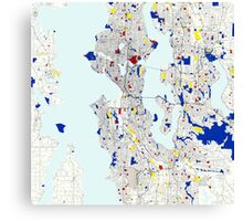 Seattle Piet Mondrian Style City Street Map Art Canvas Print