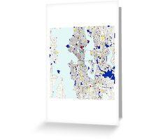 Seattle Piet Mondrian Style City Street Map Art Greeting Card