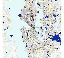 Seattle Piet Mondrian Style City Street Map Art Photographic Print