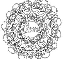 Zentangle Mandala Love Black & White by cehouston