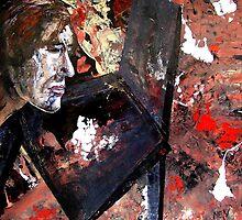 sad artist with a broken black chair by Evguenia  Men