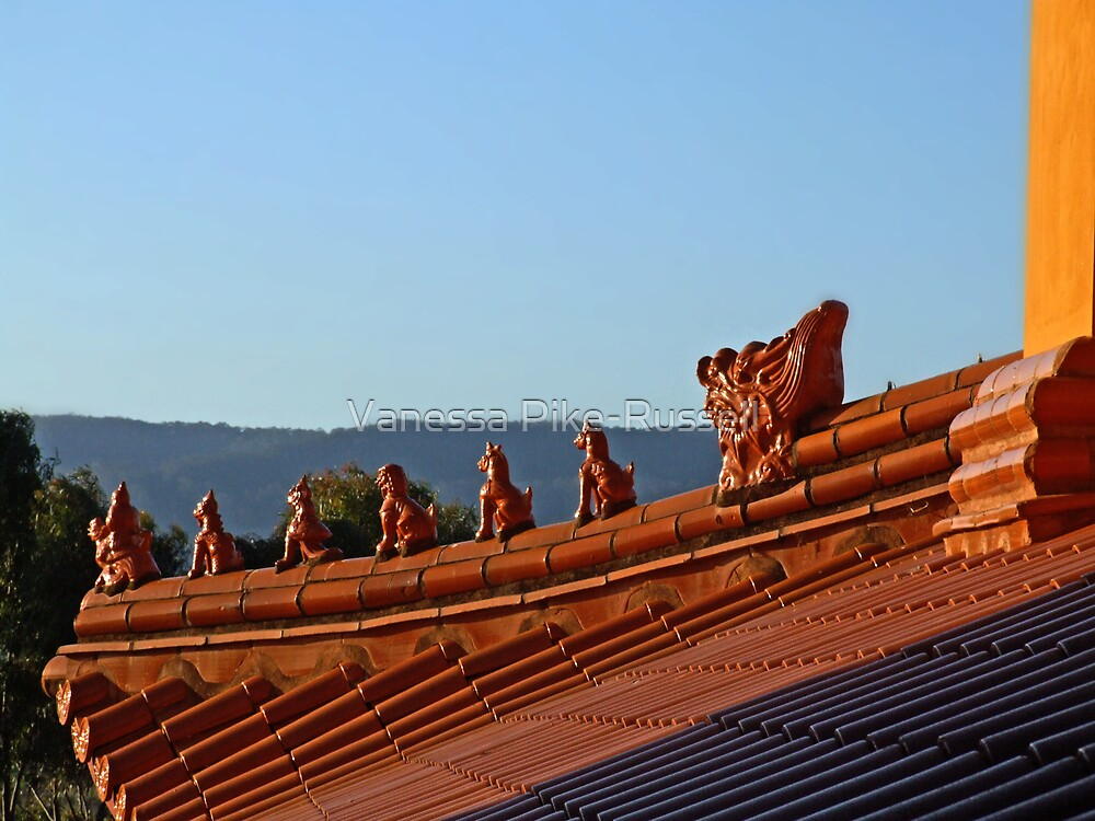 Nan Tien Buddhist Temple - Rooftop guardians by Vanessa Pike-Russell