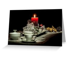Christmas still life composition on a black background Greeting Card