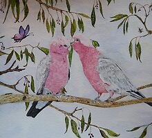 LOVE BIRDS - water color by Marilyn Grimble