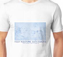 BluePrint of Mount Rushmore in South Dakota GPS Unisex T-Shirt