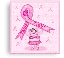 Pink Ribbon Pig For Awareness Art Poster Canvas Print
