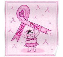 Pink Ribbon Pig For Awareness Art Poster Poster