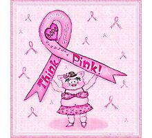 Pink Ribbon Pig For Awareness Art Poster Photographic Print