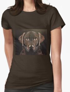 Chocolate Labrador, Faithful Friend Womens Fitted T-Shirt