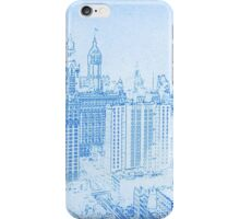BluePrint of The big buildings of Lower Manhattan, New York circa 1912 iPhone Case/Skin