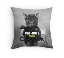 Cat of Duty Throw Pillow