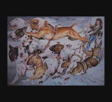 BULLIE CART Watercolour of Bull Terriers Pulling a Cart! T-Shirt