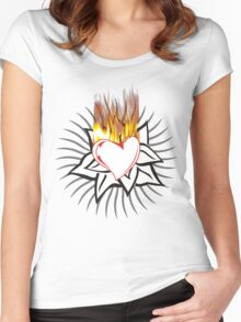 Flaming heart Women's Fitted Scoop T-Shirt
